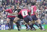Reading, Berkshire, UK., 16th March 2002, Zurich Premiership Rugby, Madejski Stadium, England, [Mandatory Credit: Peter Spurrier/Intersport Images],<br /> <br /> Zurich Premiership-Madejski Stadium <br /> London Irish v Bristol<br /> Brendan Venter, look's for the gap in the Bristol defence.