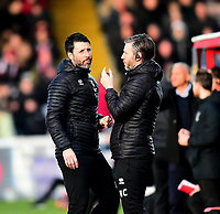 Lincoln City manager Danny Cowley and Lincoln City's assistant manager Nicky Cowley in the technical area<br /> <br /> Photographer Andrew Vaughan/CameraSport<br /> <br /> The EFL Sky Bet League Two - Lincoln City v Northampton Town - Saturday 9th February 2019 - Sincil Bank - Lincoln<br /> <br /> World Copyright © 2019 CameraSport. All rights reserved. 43 Linden Ave. Countesthorpe. Leicester. England. LE8 5PG - Tel: +44 (0) 116 277 4147 - admin@camerasport.com - www.camerasport.com
