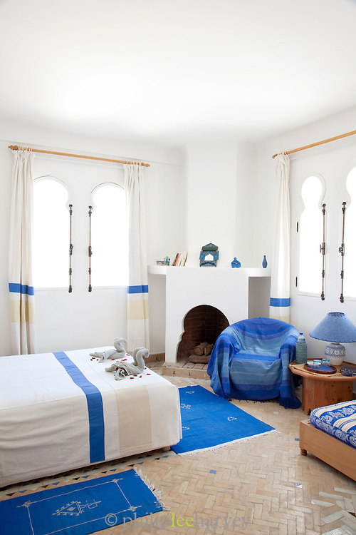 A traditional blue and white hotel room in Essaouira, Morocco