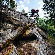 Rex Flake drops a major rock feature near Leavenworth, Washington.