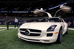 04 October 2011. New Orleans, Louisiana, USA.  <br /> The newly named Mercedes-Benz Superdome.<br /> NFL's New Orleans Saints announce a multi million dollar deal with Mercedes-Benz for naming rights on the Louisiana Superdome.<br /> Photos; Charlie Varley/varleypix.com