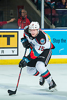 KELOWNA, BC - FEBRUARY 12: Dallon Wilton #15 of the Kelowna Rockets skates with the puck against the Tri-City Americans at Prospera Place on February 8, 2020 in Kelowna, Canada. (Photo by Marissa Baecker/Shoot the Breeze)