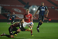 Bristol City's Daniel Bentley collects the ball while under pressure from Middlesbrough's Chuba Akpom<br /> <br /> Photographer Ian Cook/CameraSport<br /> <br /> The EFL Sky Bet Championship - Bristol City v Middlesbrough - Tuesday  20th October 2020 - Ashton Gate - Bristol<br /> <br /> World Copyright © 2020 CameraSport. All rights reserved. 43 Linden Ave. Countesthorpe. Leicester. England. LE8 5PG - Tel: +44 (0) 116 277 4147 - admin@camerasport.com - www.camerasport.com