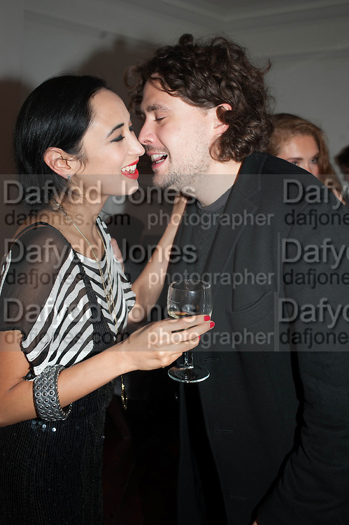 HANNAH BHUIYA; ADAM WAYMOUTH, Opening of Morris Lewis: Cyprien Gaillard. From Wings to Fins, Sprüth Magers London Grafton St. London. Afterwards dinner at Simpson's-in-the-Strand hosted by Monika Spruth and Philomene Magers.