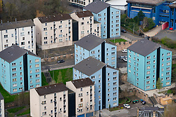 View of modern apartment blocks in Edinburgh, Scotland, UK