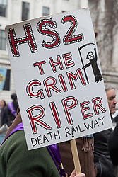 London, UK. 12th January, 2018. An activist stands holding an anti-HS2 placard in Euston Square Gardens. Local residents and environmental campaigners are protesting against the planned felling of mature London Plane, Red Oak, Common Whitebeam, Common Lime and Wild Service trees in Euston Square Gardens to make way for temporary sites for construction vehicles and a displaced taxi rank as part of preparations for the HS2 high-speed rail line.