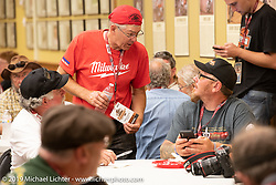 Dave Currier had Milwaukee Tools behind him as a sponsor for the Motorcycle Cannonball coast to coast vintage run. Stage 6 (260 miles) from Bourbonnais, IL to Cedar Rapids, IA. Thursday September 13, 2018. Photography ©2018 Michael Lichter.