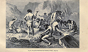 Early humans working flint, according to the French illustrator Emile Bayard (1837-1891), illustration Artwork published in Primitive Man by Louis Figuier (1819-1894), Published in London by Chapman and Hall 193 Piccadilly in 1870