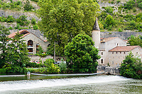 France, Cahors. Buildings at River Lot.