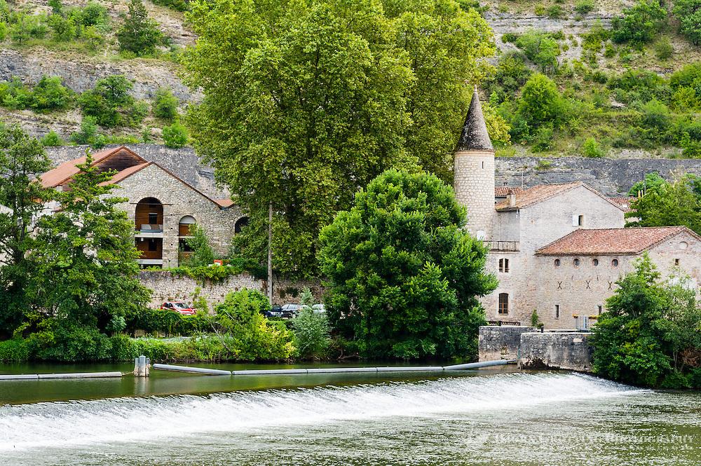 France, Cahors. Buildings at River Lot.