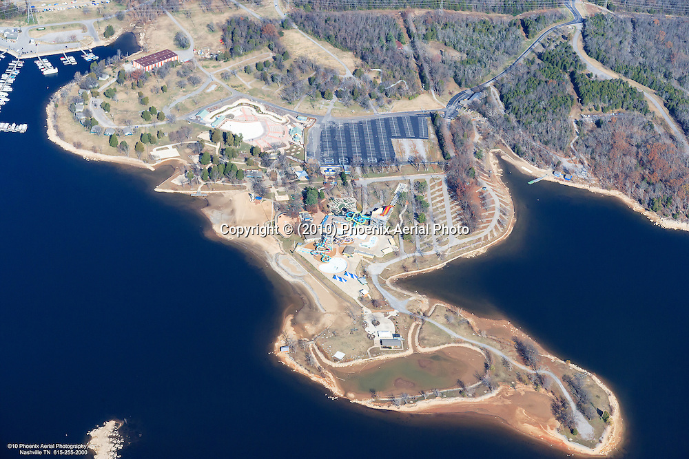 Aerial photo of Nashville Shores Water Park on Percy Priest Lake in Hermitage Tennessee.
