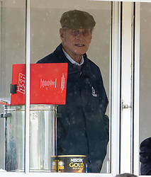 © London News Pictures. 10/05/2012. Windsor, UK. HRH Prince Philip watches over the Driving for the Disabled class from the commentators box at the Royal Windsor Horse Show in Windsor, Berkshire, before presenting awards , on May 10, 2012. Photo credit: Ben Cawthra/LNP