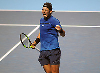 Tennis - 2017 Nitto ATP Finals  at The 02 - Day Two, Monday<br /> <br /> Rafael Nadal v David Goffin<br /> <br /> Rafael Nadal tries to rally himself after winning the 2nd set<br /> <br /> COLORSPORT/ANDREW COWIE