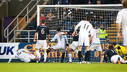 Raith Rovers Calum Elliot and Raith Rovers Joe Cardle both miss a chance.<br /> Falkirk 3 v 1 Raith Rovers, Scottish Championship game at The Falkirk Stadium.