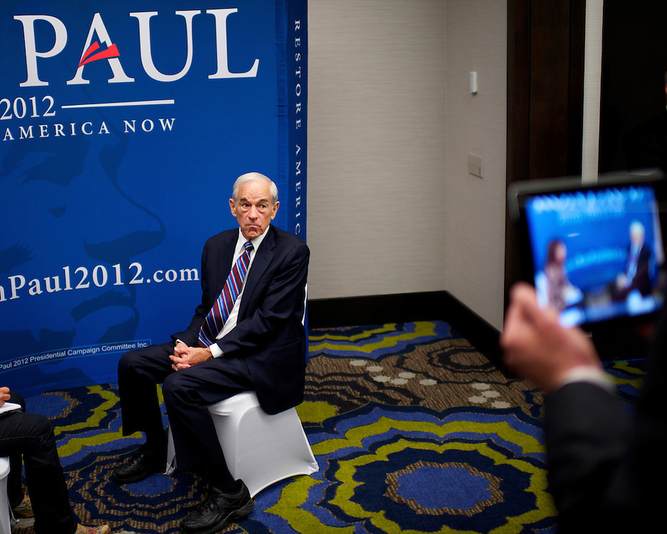 Congressman Ron Paul, a candidate for the Republican presidential nomination, grants an interview before a fundraising event at the Holiday Inn Pittsburgh University Center in Pittsburgh, Pennsylvania on April 20, 2012.