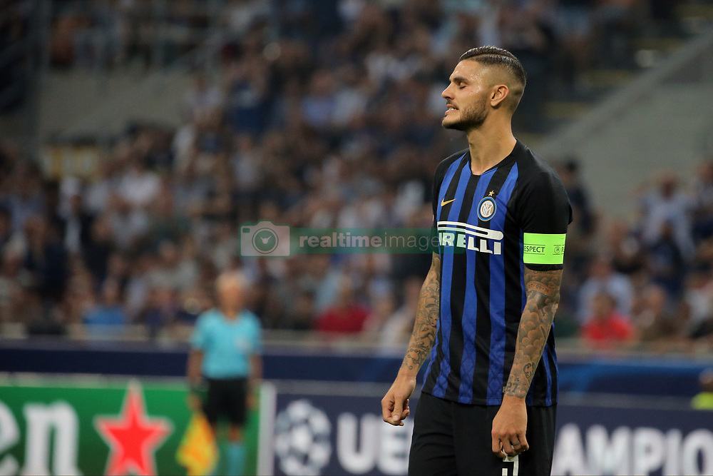 September 18, 2018 - Milan, Milan, Italy - Mauro Icardi #9 of FC Internazionale Milano reacts to a missed chance during  the UEFA Champions League group B match between FC Internazionale and Tottenham Hotspur at Stadio Giuseppe Meazza on September 18, 2018 in Milan, Italy. (Credit Image: © Giuseppe Cottini/NurPhoto/ZUMA Press)