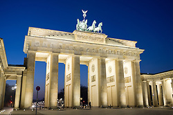 View of Brandenburg Gate at night in Berlin Germany
