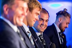 Mark Stevens interviews Rob Baxter, James McRae, Ben Moon and Jack Nowell - Ryan Hiscott/JMP - 06/08/2018 - RUGBY - Sandy Park - Exeter, England - Exeter Chiefs Season Launch Dinner