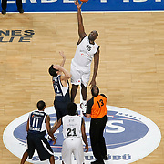 Partizan's Nathan JAWAI (C) during their Turkish Airlines Euroleague Basketball Top 16 Group G Game 6 match Efes Pilsen between Partizan at Sinan Erdem Arena in Istanbul, Turkey, Thursday, March 03, 2011. Photo by TURKPIX