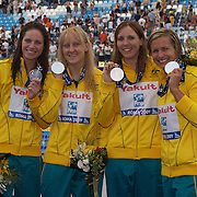 Australia's 4x 100 Medley Relay team winning Silver, from left, Emily Seebohm, Jessicah Schipper, Sarah Katsoulis and Libby Trickett at the World Swimming Championships in Rome on Saturday, August 01, 2009. Photo Tim Clayton.