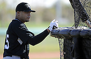 GLENDALE, AZ - FEBRUARY 23:  Andruw Jones #25 of the Chicago White Sox looks on during a spring training workout on February 23, 2010 at the White Sox training facility at Camelback Ranch in Glendale, Arizona.  (Photo by Ron Vesely)Jones