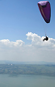 Israel, Golan Heights, paragliding The sea of Galilee in the background
