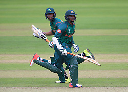Bangladesh's Shakib Al Hasan (right) and Mahmudullah during the ICC Champions Trophy, Group A match at Sophia Gardens, Cardiff.