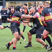 Action during the rugby match, Paremata-Plimmerton v Upper Hutt Rams, played at Ngati Toa Domain, Mana, Wellington, New Zealand, 20 June 2020.  Final score 30-8 to the Upper Hutt Rams.