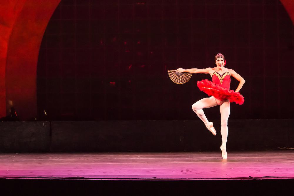 A dancer from Les Ballets Trockadero de Monte Carlo en pointe. The dancers in the troupe are all males.