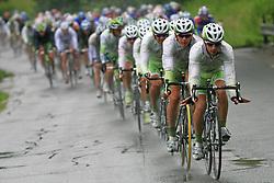 Kristjan Durasek of Croatia (Perutnina Ptuj) leading the peloton (behind Kristjan Fajt of Slovenia (Perutnina Ptuj) and Gregor Gazvoda of Slovenia (Perutnina Ptuj)) in last 4th stage of the 15th Tour de Slovenie from Celje to Novo mesto (157 km), on June 14,2008, Slovenia. (Photo by Vid Ponikvar / Sportal Images)/ Sportida)