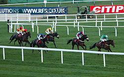 Aaron Lad ridden by Charlie Hammond on their way to victory in the Citipost Handicap Hurdle during day one of the International Meeting at Cheltenham Racecourse.
