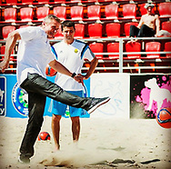 Sergei Bubka playing beach soccer