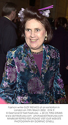 Fashion writer SUZY MENKES at an exhibition in London on 19th March 2002.<br />OYK 9