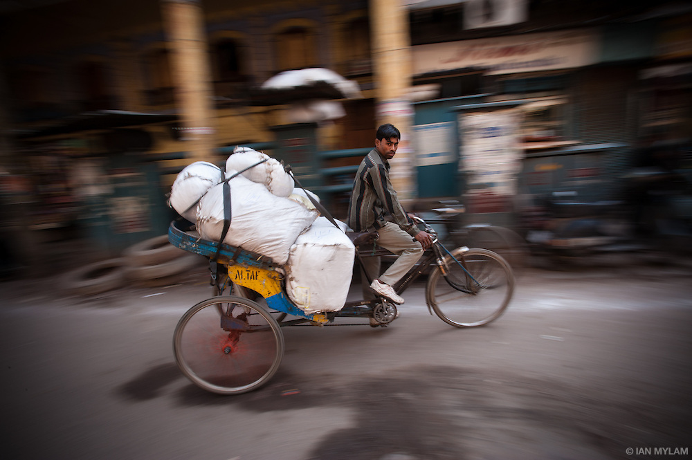 Bicycle Rickshaw Delivering Goods - Chandni Chowk, Old Delhi, India
