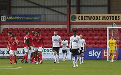 Siriki Dembele of Peterborough United cuts a dejected figure as Crewe Alexandra celebrate scoring their opening goal of the game - Mandatory by-line: Joe Dent/JMP - 14/11/2020 - FOOTBALL - Alexandra Stadium - Crewe, England - Crewe Alexandra v Peterborough United - Sky Bet League One