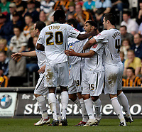 Photo: Jed Wee/Sportsbeat Images.<br /> Hull City v Norwich City. Coca Cola Championship. 06/04/2007.<br /> <br /> Norwich celebrate after Youssef Safri's (15) corner finds its way into the back of the net.