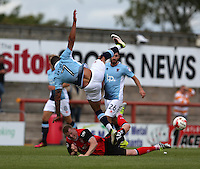 Blackpool's Kyle Vassell collides with Morecambe's Alex Whitmore<br /> <br /> Photographer Stephen White/CameraSport<br /> <br /> Football - The EFL Sky Bet League Two - Morecambe v Blackpool - Saturday 13th August 2016 - Globe arena - Morecambe<br /> <br /> World Copyright © 2016 CameraSport. All rights reserved. 43 Linden Ave. Countesthorpe. Leicester. England. LE8 5PG - Tel: +44 (0) 116 277 4147 - admin@camerasport.com - www.camerasport.com