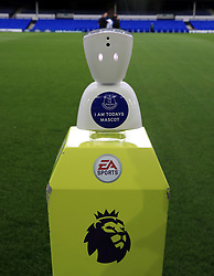 """A view of a Robot Mascot which will be used in tonights Premier League match between Everton and Newcastle United at Goodison Park, Liverpool. PRESS ASSOCIATION Photo. Picture date: Monday April 23, 2018. See PA story SOCCER Everton. Photo credit should read: Peter Byrne/PA Wire. RESTRICTIONS: EDITORIAL USE ONLY No use with unauthorised audio, video, data, fixture lists, club/league logos or """"live"""" services. Online in-match use limited to 75 images, no video emulation. No use in betting, games or single club/league/player publications."""