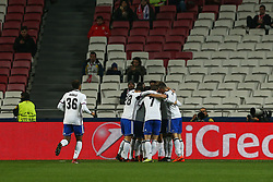December 5, 2017 - Lisbon, Lisbon, Portugal - Fc Basel forward Moha Elyounoussi from Norway celebrating after scoring a goal with is team mate during the match between SL Benfica v FC Basel UEFA Champions League playoff match at Luz Stadium on December 5, 2017 in Lisbon, Portugal. (Credit Image: © Dpi/NurPhoto via ZUMA Press)