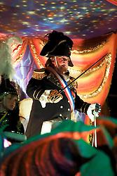 13 Feb 2015. New Orleans, Louisiana.<br /> Mardi Gras. Krewe D'Etat rolls along Magazine Street with Napoleon leading the way.<br /> Photo; Charlie Varley/varleypix.com