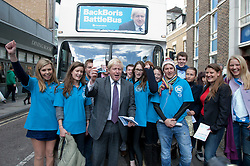 © licensed to London News Pictures. London, UK 10/04/2012. Boris Johnson posing with Back Boris campaigners as he launches his campaign to be Mayor of London again, in Richmond, this noon (10/04/12). Photo credit: Tolga Akmen/LNP