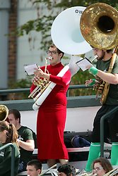 19 September 2015:  Titan band tuba players dress up for the annual running of the tubas that occurs as part of the games halftime entertainment during an NCAA division 3 football game between the Simpson College Storm and the Illinois Wesleyan Titans in Tucci Stadium on Wilder Field, Bloomington IL