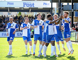 Bristol Rovers celebrate Bristol Rovers' Ellis Harrison goal with the goal cam - Photo mandatory by-line: Neil Brookman/JMP - Mobile: 07966 386802 - 11/04/2015 - SPORT - Football - Bristol - Memorial Stadium - Bristol Rovers v Southport - Vanarama Football Conference