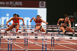 February 7, 2018 - Paris, Ile-de-France, France - From left to right : Jade Barber of USA, Laura Valette of France, Luca Kozak of Hungary compete in 60m Hurdles during the Athletics Indoor Meeting of Paris 2018, at AccorHotels Arena (Bercy) in Paris, France on February 7, 2018. (Credit Image: © Michel Stoupak/NurPhoto via ZUMA Press)