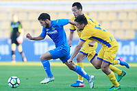 Getafe CF's Dani Pacheco (l) and AD Alcorcon's Foued Kadir (c) and Jon Errasti during friendly match. August 9,2017. (ALTERPHOTOS/Acero)