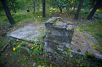 Ruin of a prisoner barrack in German POW camp Stalag Luft 3.