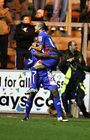 Photo: Paul Greenwood/Sportsbeat Images.<br />Carlisle United v Swindon Town. Coca Cola League 1. 04/12/2007.<br />Carlisle's Joe Anyinsah, (L) and Danny Carlton celebrate