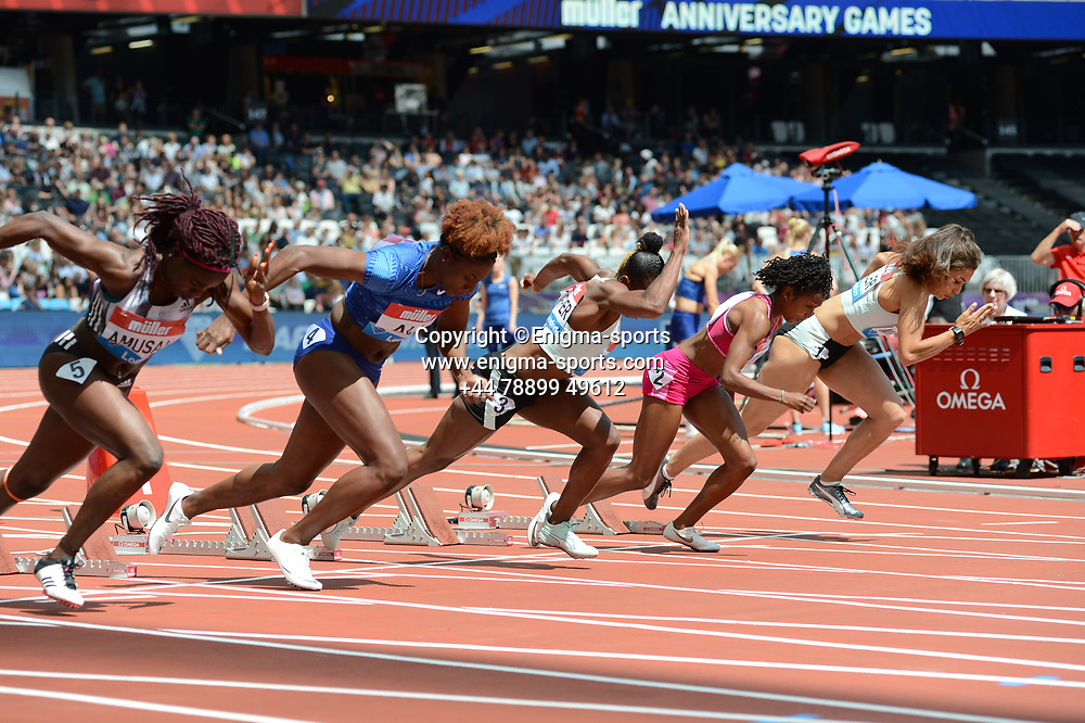 The 100m hurdles heat during the IAAF Diamond League at the Queen Elizabeth Olympic Park London, England on 20 July 2019.