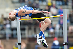 April 27, 2018 - Philadelphia, Pennsylvania, U.S - RIVERS RIDOUT (13) from Duke competes in the High Jump during the meet held in Franklin Field in Philadelphia, Pennsylvania. (Credit Image: © Amy Sanderson via ZUMA Wire)