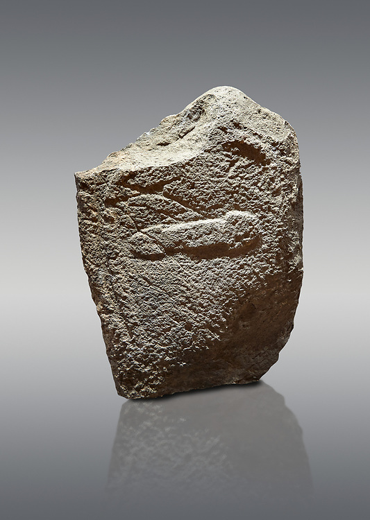 Late European Neolithic prehistoric Menhir standing stone with carvings on its face side. The representation of a stylalised male figure with the remains of a  carving of a dagger running horizontally across the menhir. Excavated from Cuccu de Lai,  Samugheo. Menhir Museum, Museo della Statuaria Prehistorica in Sardegna, Museum of Prehoistoric Sardinian Statues, Palazzo Aymerich, Laconi, Sardinia, Italy. Grey background. .<br /> <br /> Visit our PREHISTORIC PLACES PHOTO COLLECTIONS for more photos to download or buy as prints https://funkystock.photoshelter.com/gallery-collection/Prehistoric-Neolithic-Sites-Art-Artefacts-Pictures-Photos/C0000tfxw63zrUT4